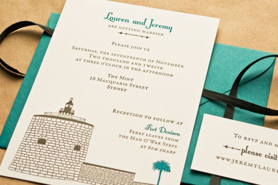 Australian Historical Site Wedding Invitation Laura Macchia May Day Studio4 550x366 Lauren + Jeremys Illustrated Historical Australian Wedding Invitations
