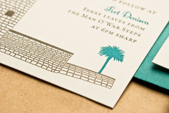 Australian Historical Site Wedding Invitation Laura Macchia May Day Studio7 550x366 Lauren + Jeremys Illustrated Historical Australian Wedding Invitations
