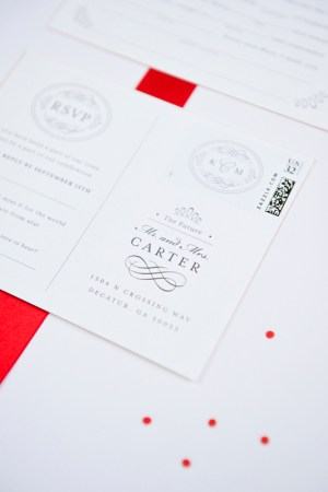 Classic Southern Monogram Wedding Invitations Sase Ink10 300x450 Katie + Matts Classic Southern Wedding Invitations