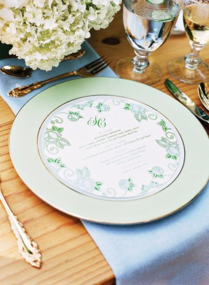 Emerald Wedding Menu The Lettered Olive Katie Stoops Photography 300x409 Wedding Stationery Inspiration: Emerald
