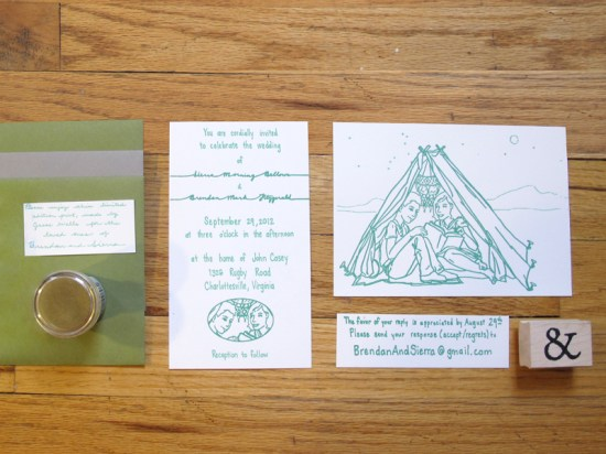 Green Hand Lettered Wedding Invitations Jesse Wells 550x412 Sierra + Brendans Hand Lettered Wedding Invitations