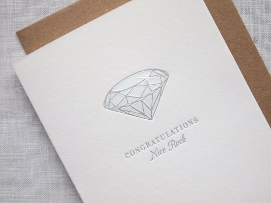 Letterpress Diamond Engagement Card 550x412 Stationery A – Z: Engagement Congratulations Cards
