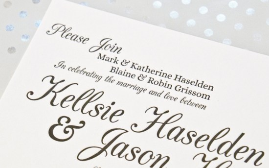 Music Inspired Letterpress Wedding Invitations One and Only5 550x343 Jason + Kellsies Music Inspired Black and White Wedding Invitations
