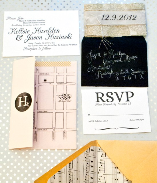 Music Inspired Letterpress Wedding Invitations One and Only6 550x640 Jason + Kellsies Music Inspired Black and White Wedding Invitations