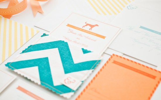 Orange Teal Chevron Stripe Fabric Pocket Wedding Invitation8 550x343 Janine + Craigs Chevron Stripe Fabric Pocket Wedding Invitations