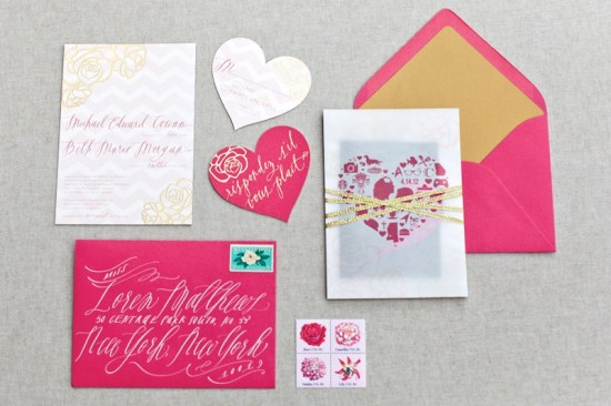 Pink Gold Foil Heart Wedding Invitations August Blume 550x366 Beth + Michaels Pink and Gold Foil Wedding Invitations