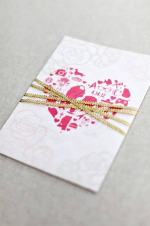 Pink Gold Foil Heart Wedding Invitations August Blume5 300x450 Beth + Michaels Pink and Gold Foil Wedding Invitations