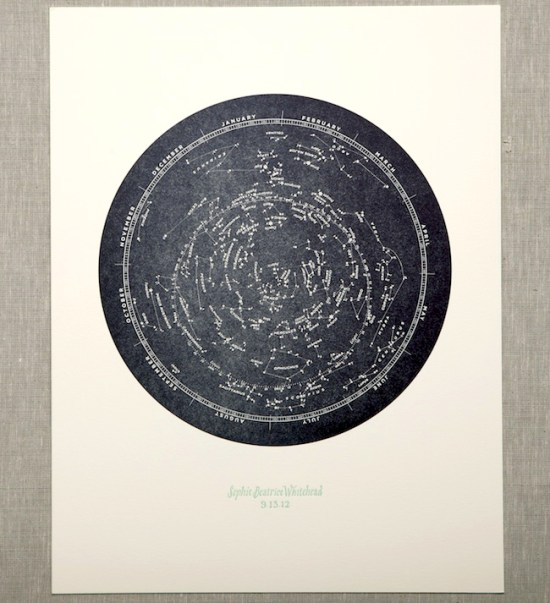 Sophie Constellation Letterpress Print 550x603 Sophies Constellation Starfinder Birth Announcements