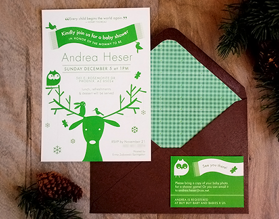 Woodland Theme Baby Shower Invitations Featherpress Design Andreas Rustic Woodland Theme Baby Shower Invitations
