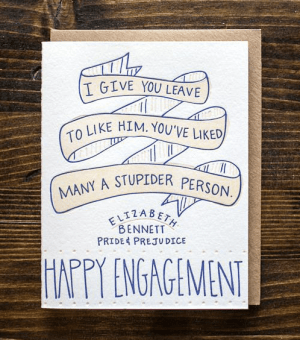9th Letter Press Engagement Card 300x340 Stationery A – Z: Engagement Congratulations Cards