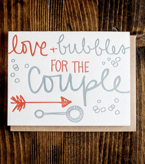 9th Letter Press Happy Couple Card 300x340 Stationery A – Z: Engagement Congratulations Cards
