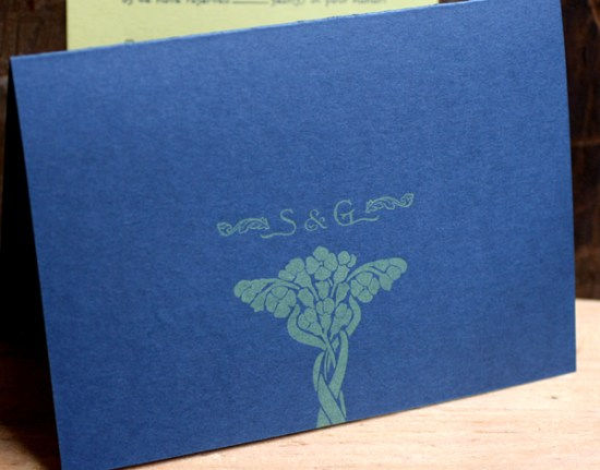 Art Nouveau Letterpress Wedding Invitations Starshaped5 550x431 Sarvenaz + Graigs Art Nouveau Wedding Invitations