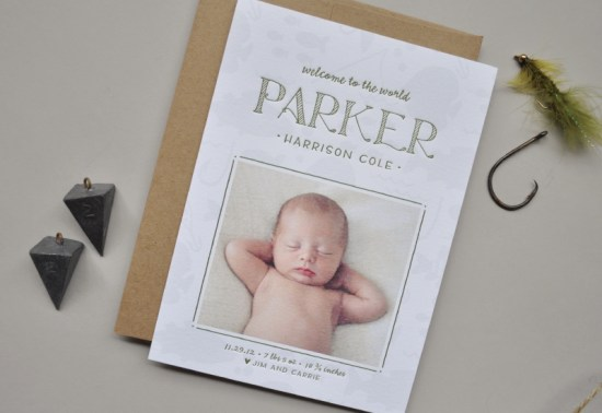 Baby Boy Birth Announcements Palm Papers2 550x378 Parkers Little Fisherman Birth Announcements