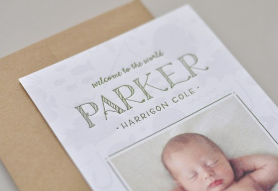 Baby Boy Birth Announcements Palm Papers3 550x378 Parkers Little Fisherman Birth Announcements