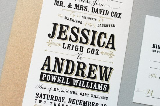Black and Gold Typographic Wedding Invitations Megan Wright Design Co2 550x367 Jessica + Andrews Vintage Inspired Typography Wedding Invitations