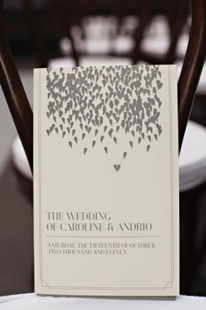 Falling Heart Wedding Program Andrio Abero Studio on Fire Jenny Jimenez 300x450 Wedding Stationery Inspiration: Hearts