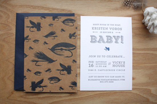 Fly Fishing Letterpress Baby Shower Invitations Print In Cursive 550x366 Kristens Fly Fishing Inspired Baby Shower Invitations