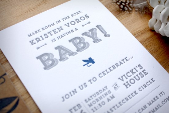 Fly Fishing Letterpress Baby Shower Invitations Print In Cursive2 550x366 Kristens Fly Fishing Inspired Baby Shower Invitations
