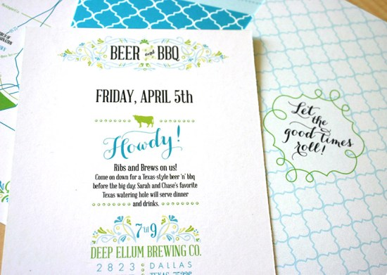 Green Turquoise Garden Party Wedding Invitations Mountain Paper7 550x391 Sarah + Chases Texas Garden Party Wedding Invitations
