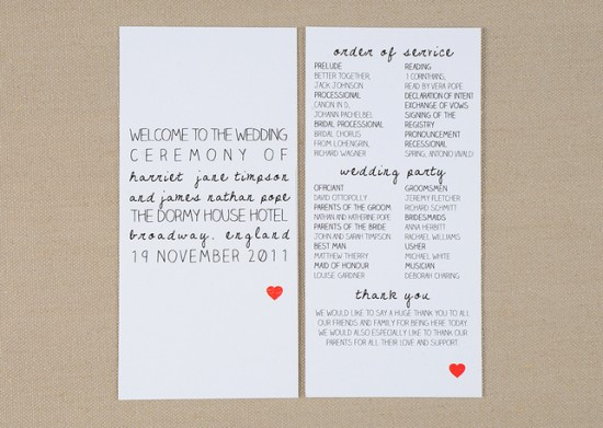Heart Wedding Ceremony Program Amelia Lane Paper 550x391 Wedding Stationery Inspiration: Hearts