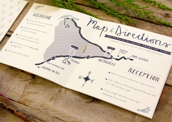 Illustrated South Africa Wedding Invitations Bells Whistles Map 550x390 Sally + Bens Sweet and Simple Illustrated Wedding Invitations