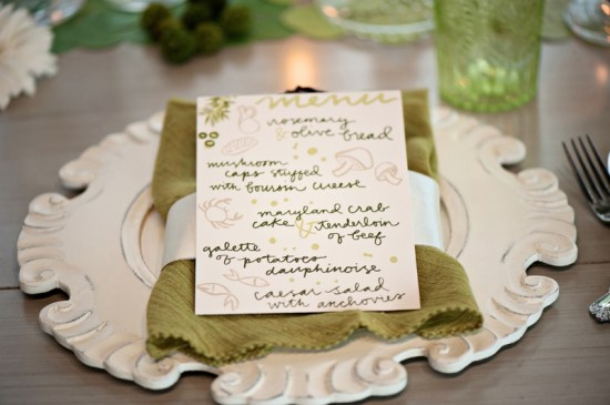 Illustrated Wedding Menu 9th Letterpress Kristen Weaver Photography 550x365 Wedding Stationery Inspiration: Colorfully Illustrated Menus