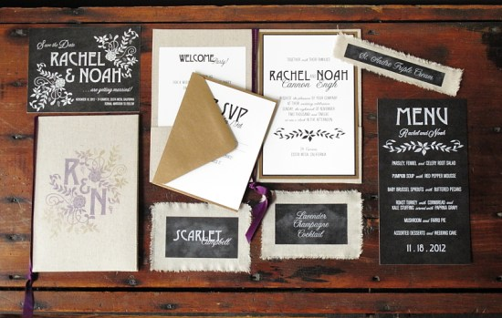 Linen Chalkboard Wedding Invitations Blue Magpie 550x349 Eco Industrial Chalkboard + Linen Wedding Invitations