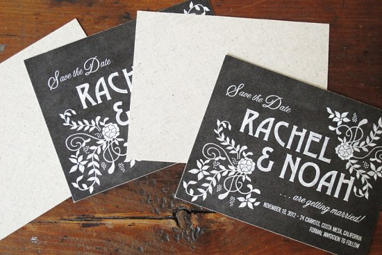Linen Chalkboard Wedding Invitations Blue Magpie2 550x367 Eco Industrial Chalkboard + Linen Wedding Invitations
