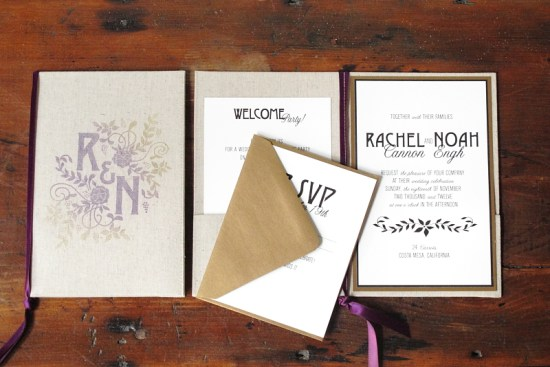 Linen Chalkboard Wedding Invitations Blue Magpie4 550x367 Eco Industrial Chalkboard + Linen Wedding Invitations