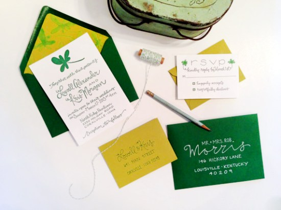 St Patricks Day Irish Wedding Invitations Grey Snail Press 550x412 Kris + Lowells St. Patricks Day Wedding Invitations