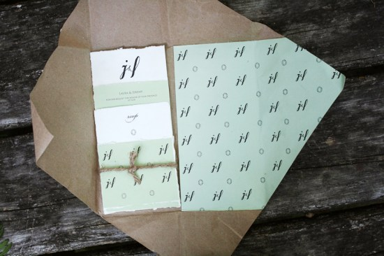Wrapped Kraft Mint Green Invitations Belinda Love Lee4 550x366 Laura + Jeremys Kraft Paper and Mint Green Wedding Invitations