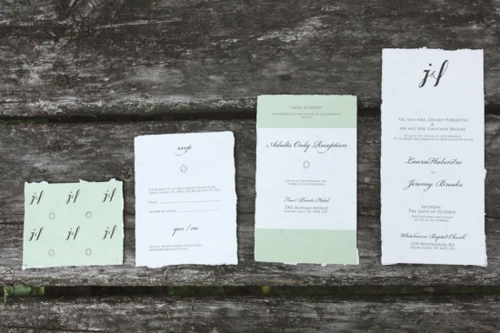 Wrapped Kraft Mint Green Invitations Belinda Love Lee5 550x366 Laura + Jeremys Kraft Paper and Mint Green Wedding Invitations