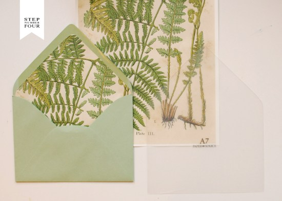 fern 5 550x393 DIY Tutorial: Vintage Fern Wedding Invitations