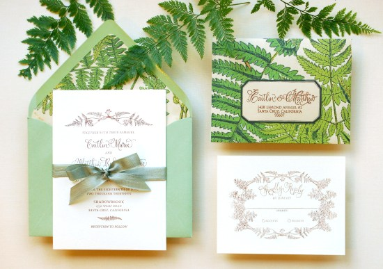 fern final 550x387 DIY Tutorial: Vintage Fern Wedding Invitations