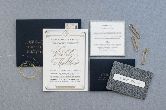 Black White Gold Foil Art Deco Wedding Invitations 550x365 Blakely + Matthews Glamorous Art Deco Wedding Invitations