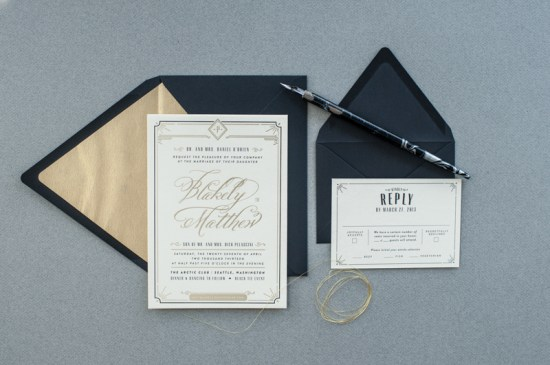 Black White Gold Foil Art Deco Wedding Invitations6 550x365 Blakely + Matthews Glamorous Art Deco Wedding Invitations