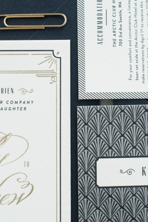 Black White Gold Foil Art Deco Wedding Invitations8 300x450 Blakely + Matthews Glamorous Art Deco Wedding Invitations