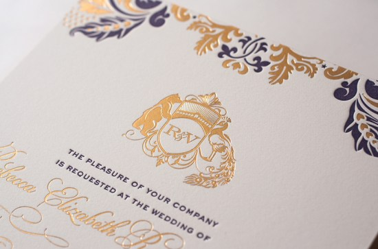 Lasercut Gold Foil Letterpress Wedding Invitations Atelier Isabey2 550x363 Rebecca + Varuns Lasercut and Gold Foil Wedding Invitations