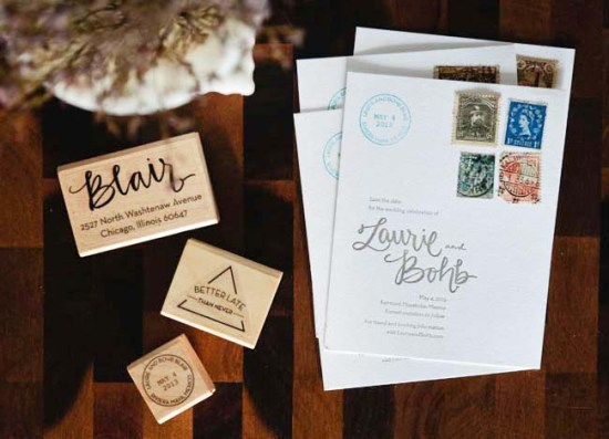 Letterpress Rubber Stamp Wedding Invitations Allie Peach 550x397 Laurie + Bohbs Travel Inspired Vintage Stamp Save the Dates