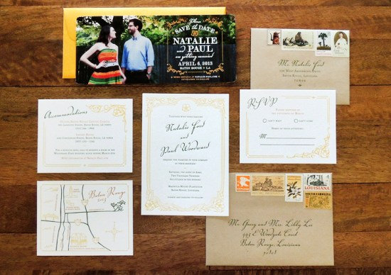 Magnolia Wedding Invitation Suite Harken Press11 550x388 Natalie + Pauls Southern Magnolia Wedding Invitations
