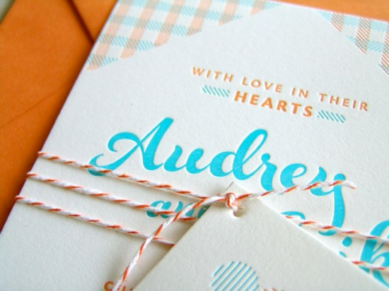 Orange Blue Letterpress Overprint Wedding Invitations Studio SloMo3 550x412 Audrey + Eriks Gingham Letterpress Overprint Wedding Invitations