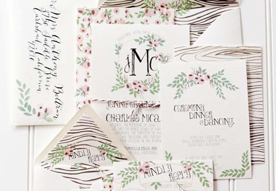 Woodgrain Floral Wedding Invitations Moira Design Studio13 Jennifer + Charless Floral and Woodgrain Wedding Invitations