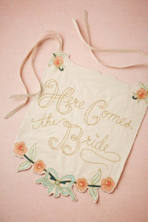 Here Comes the Bride Banner BHLDN 300x450 Wedding Stationery Inspiration: Here Comes the Bride Signs