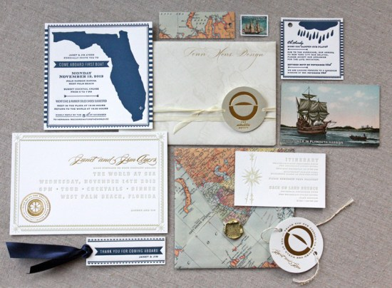 Nautical Letterpress Map Party Invitations Tenn Hens Design 550x404 Janets Nautical Vintage Map Party Invitations