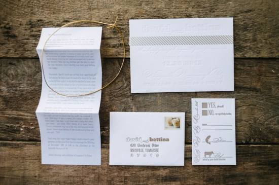 Gold Letterpress Wedding Invitations Fourth Year Studio 550x365 Bettina + Davids White and Gold Winter Wedding Invitations
