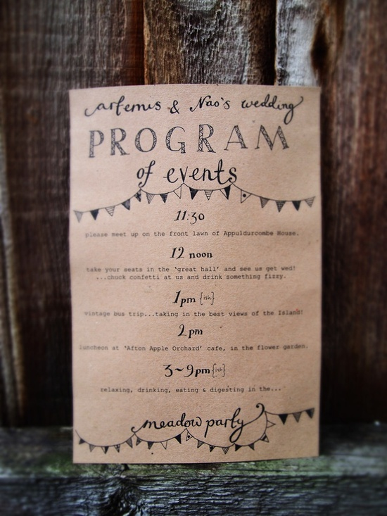 Handdrawn Wedding Schedule of Events Junkaholique Wedding Stationery Inspiration: Day of Itineraries
