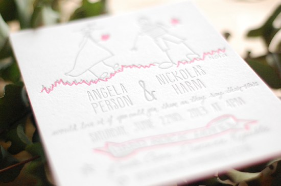 Illustrated Pink Edge Painted Letterpress Wedding Invitations Darling Press5 550x365 Nickolas + Angelas Neon Pink Illustrated Wedding Invitations
