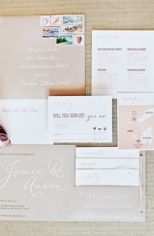Modern Romantic Destination Wedding Invitations Made by Kara3 300x460 Jamie + Aarons Modern Romantic Destination Wedding Invitations