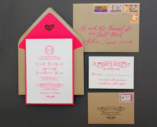 neon final 550x443 DIY Tutorial: Neon + Kraft Paper Wedding Invitations