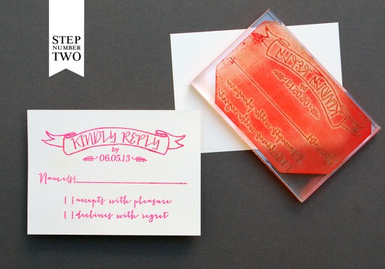 step2 550x384 DIY Tutorial: Neon + Kraft Paper Wedding Invitations